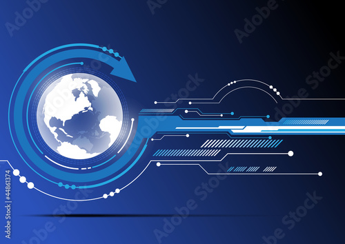 globe and technology background design