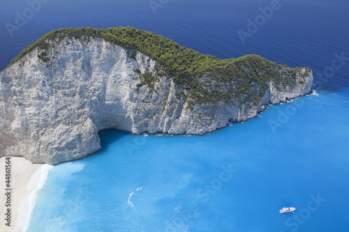 Blue beach lagoon, island paradise. Ionic Sea of Greece Zakyntho