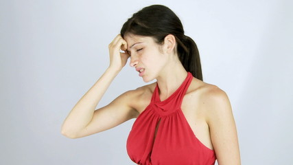 Young woman with bad headache