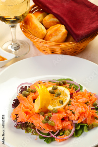 Salmon salad in restaurant