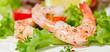 Garnelen auf Blattsalat