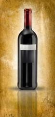 bottiglia di vino su fondo antico pergamena