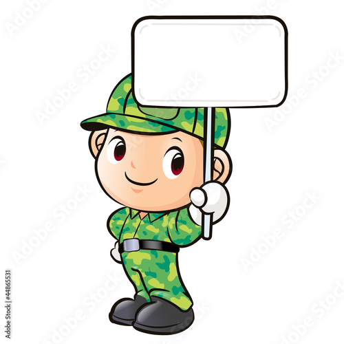 The character of a soldier holding signs