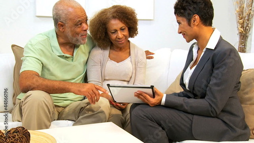 Business Advisor Home Meeting Senior Couple