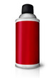 Red color spray bottle isolated on white background