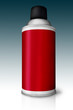 Red color spray bottle isolated on gradient background