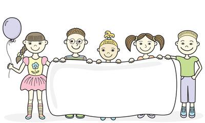 Cartoon children holding empty banner