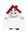 3D Haus mit Werbetafel - Rot