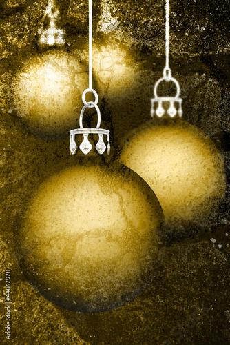Weihnachtskugeln Hintergrund - Grunge Gold