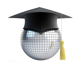disco ball school graduation cap
