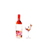 Bottle of vine and a glass on white background