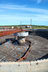Scraper of round water treatment reservoir