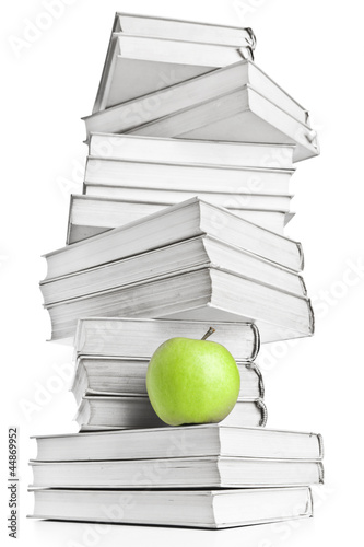 Pile of Book and apple