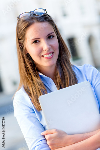 Female intern with a laptop