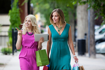 Shopping Women with Digital Tablet