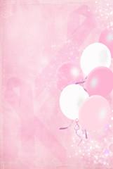 Pink ribbons and balloons