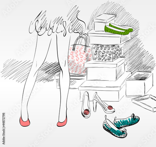 Young woman shopping for fashion shoes.