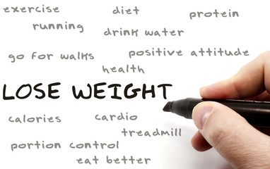 Lose Weight hand writing concept