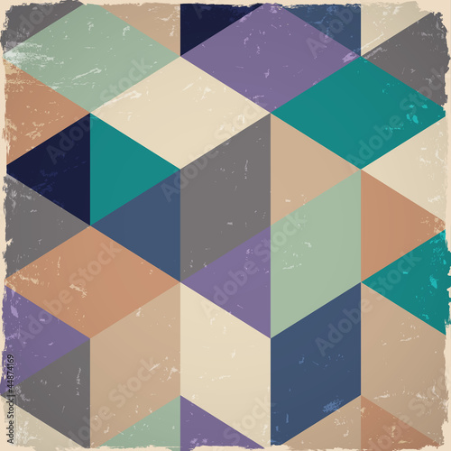 Retro geometric background in grunge style © arturaliev