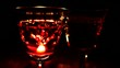 Reflection from candle on glass of wine