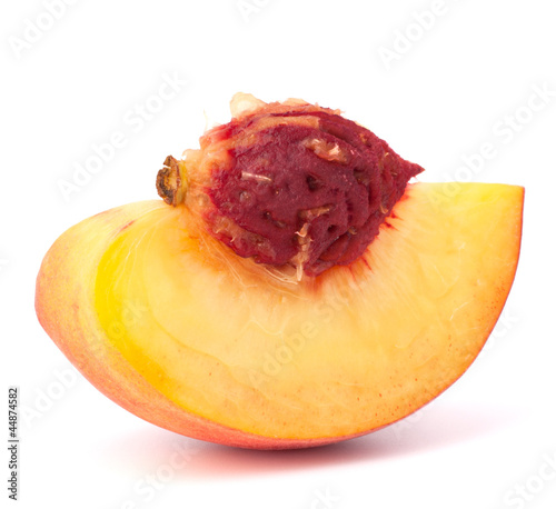Ripe peach fruit slice