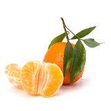 Ripe tasty tangerine isolated on white background