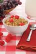 Organic granola with raspberries