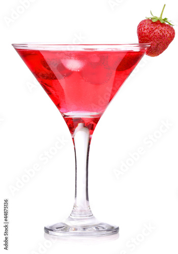 strawberry cocktail with berry in glass isolated on white