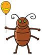 Cockroach holding Halloween ballon