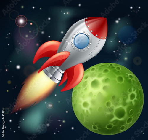 Foto Spatwand Kosmos Cartoon rocket in space