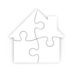 rompecabezas de una casa aislada con trazado de recorte