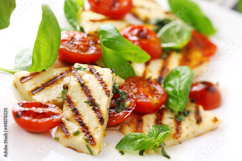 Grilled Halloumi Cheese and roasted tomato salad.