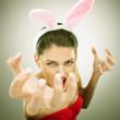 evil bunny woman screaming