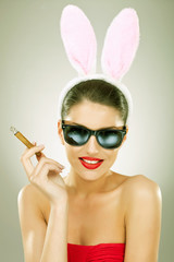 smiling and smoking bunny woman
