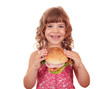 happy little girl holding big sandwich