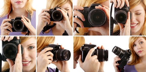 set of woman with single-lens reflex camera