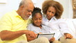 African American Grandparents Grandchild Home Wireless Tablet