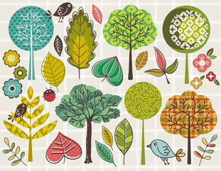 hand draw  trees and leafs over checked background