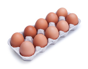 ten brown chicken eggs in a box