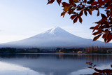 Beautiful Mt Fuji at Kawaguchi lake in autumn Japan