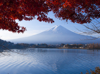 Mt fuji nice scenery at Kawaguchi lake in autumn Japan