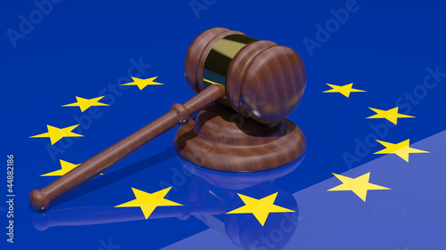 Gavel on the flag of Europe