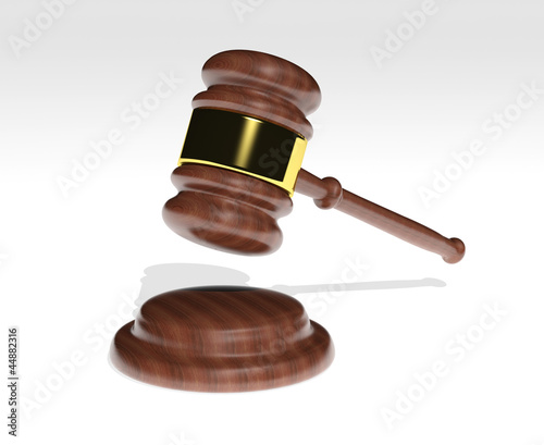 3d Judge's Gavel over white background