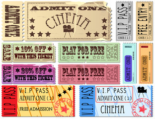 Cinema and admit one ticket Illustrations