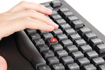 Painful typing on keyboard close-up