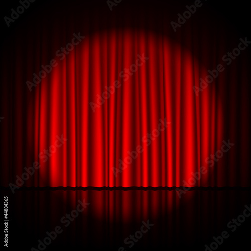 Spotlight on stage curtain - 44884365