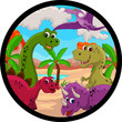 funny dinosaur cartoon set