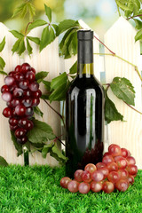 a bottle of wine on the fence background close-up