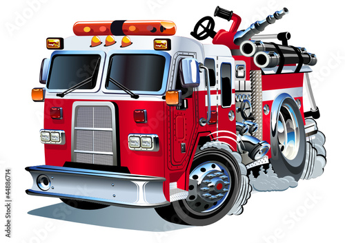Keuken foto achterwand Cartoon cars Vector Cartoon Fire Truck