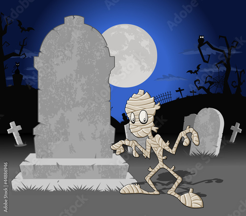 Halloween cemetery background with tombs and funny cartoon mummy